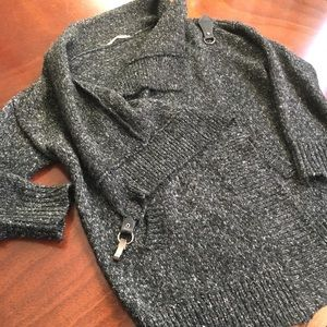Knit Cardigan with Metal Clip and Cowl Drape